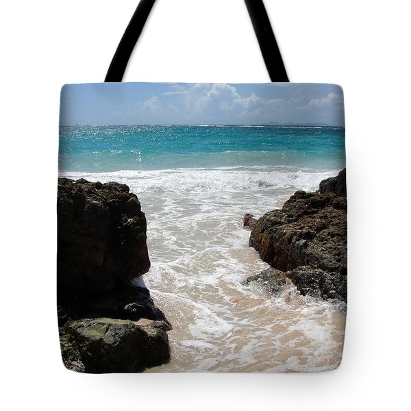 Tote Bag featuring the photograph Rocky Beach In The Caribbean by Margaret Bobb