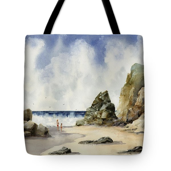 Tote Bag featuring the painting Rocky Beach by Sam Sidders