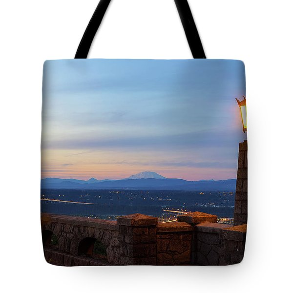 Rocky Butte Viewpoint At Sunset Tote Bag by David Gn