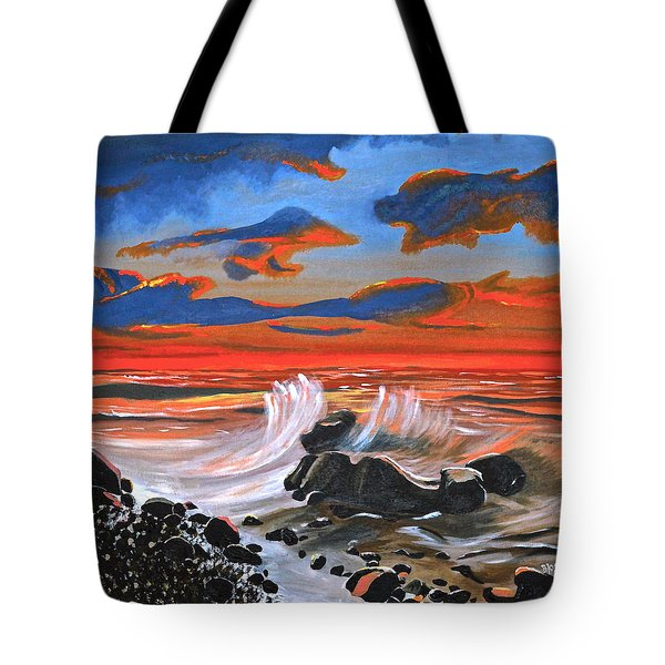 Tote Bag featuring the painting Rocky Cove by Donna Blossom