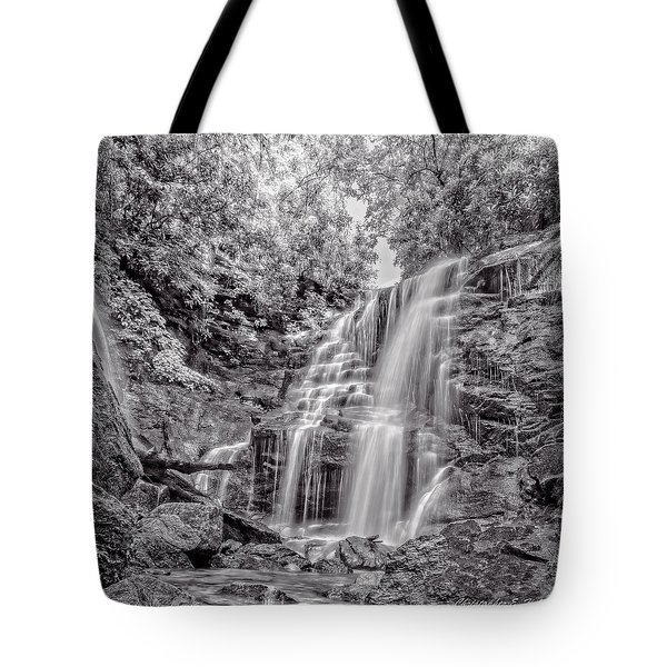 Tote Bag featuring the photograph Rocky Falls - Bw by Christopher Holmes