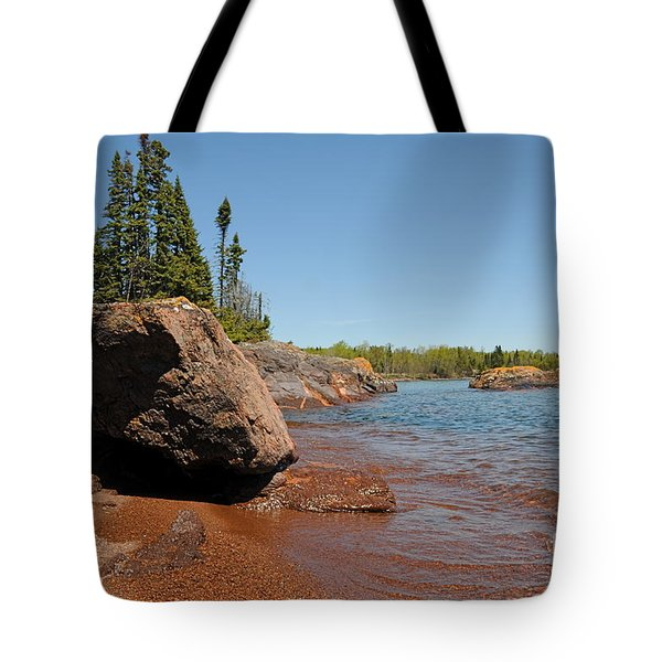 Tote Bag featuring the photograph Rocky Lake Superior View by Sandra Updyke