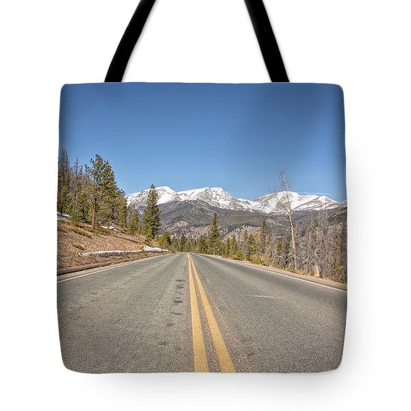 Rocky Mountain Road Heading Towards Estes Park, Co Tote Bag by Peter Ciro