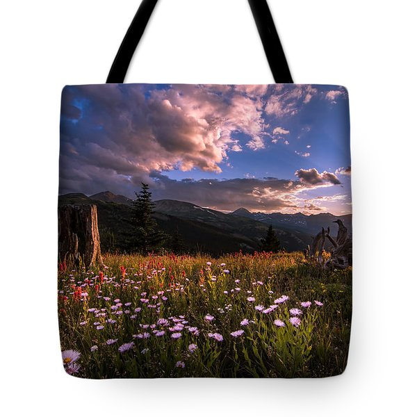 Rocky Mountain Summer Sunset Tote Bag