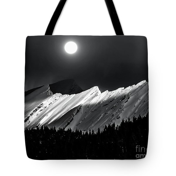 Rocky Mountains In Moonlight Tote Bag by Elaine Hunter