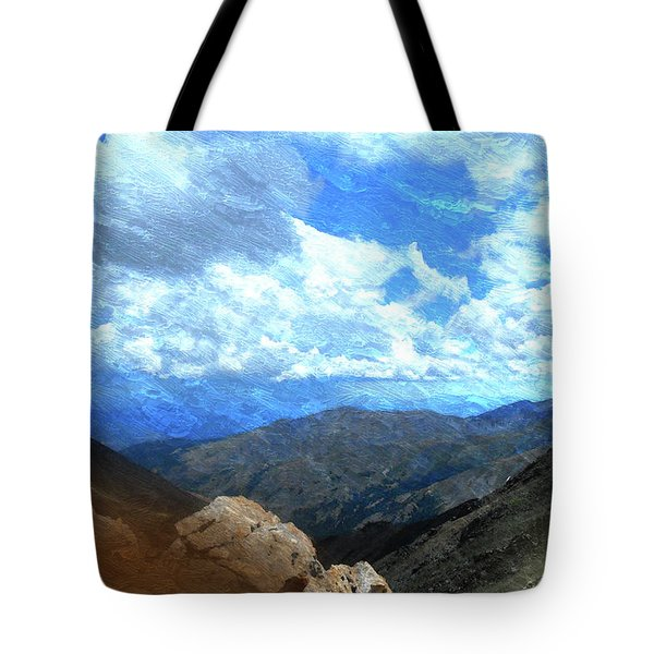 Rocky Mountains Vista Oil Painting Tote Bag