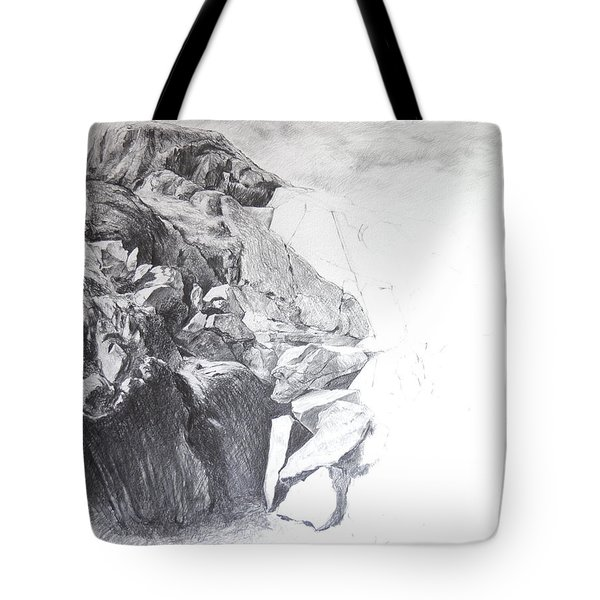 Rocky Outcrop In Snowdonia. Tote Bag by Harry Robertson