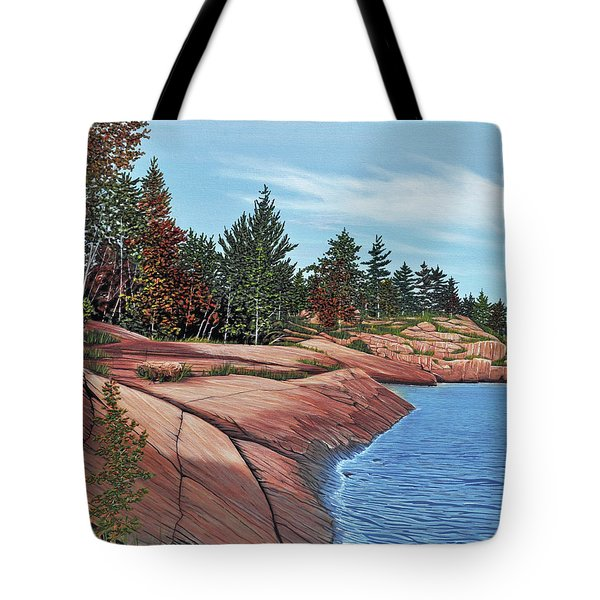 Tote Bag featuring the painting Rocky River Shore by Kenneth M Kirsch