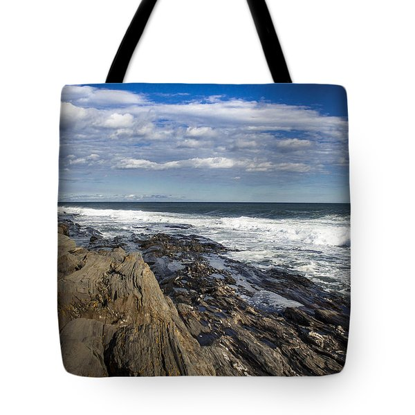 Rocky Shore Line Two Lights Maine  Tote Bag by Debra Forand