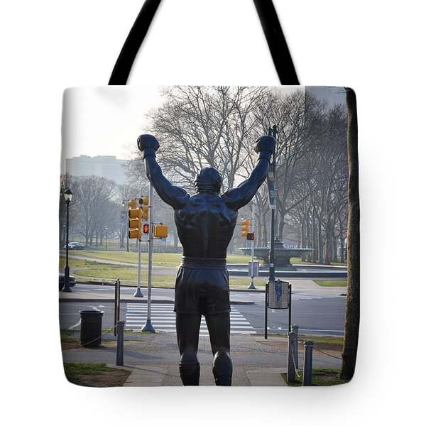 Rocky Statue From The Back Tote Bag by Bill Cannon