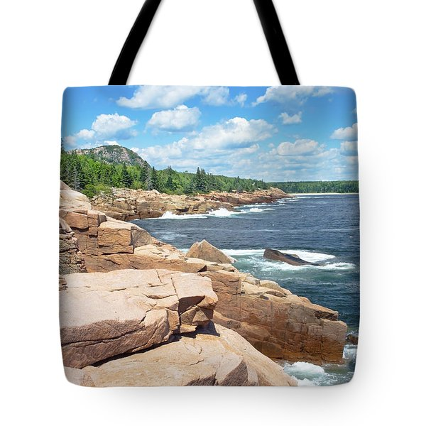 Rocky Summer Seascape Acadia National Park Photograph Tote Bag