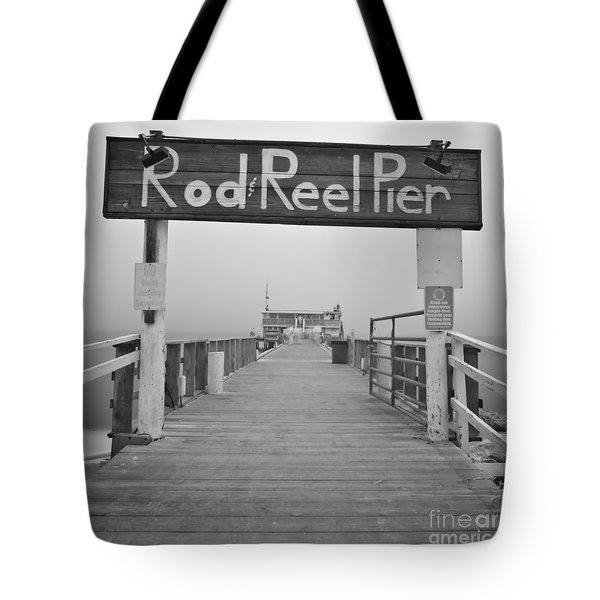 Rod And Reel Pier In Fog In Infrared 53 Tote Bag
