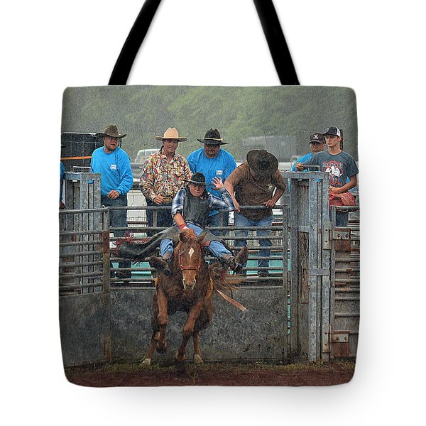 Tote Bag featuring the photograph Rodeo Bronco by Lori Seaman