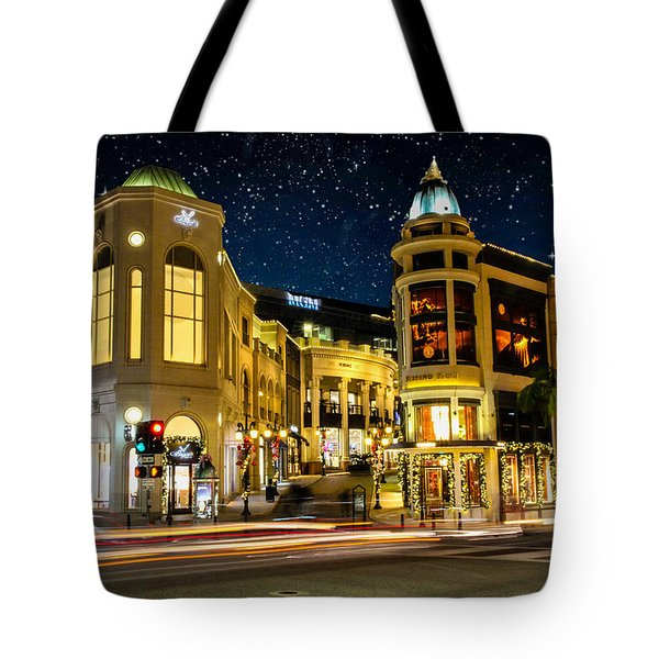 Rodeo Drive Under The Stars Tote Bag by Robert Hebert