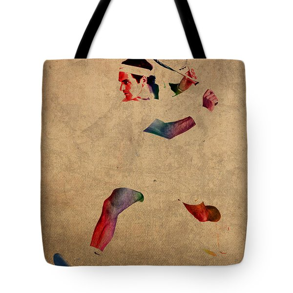 Roger Federer Watercolor Portrait On Worn Canvas Tote Bag by Design Turnpike