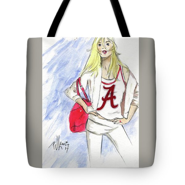 Tote Bag featuring the painting Roll Tide by P J Lewis