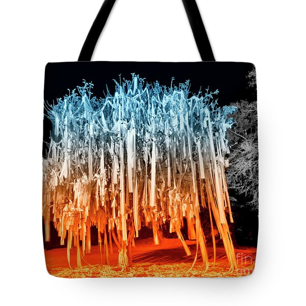 Tote Bag featuring the photograph Rolled Tree Orangenblue by Tommy Patterson