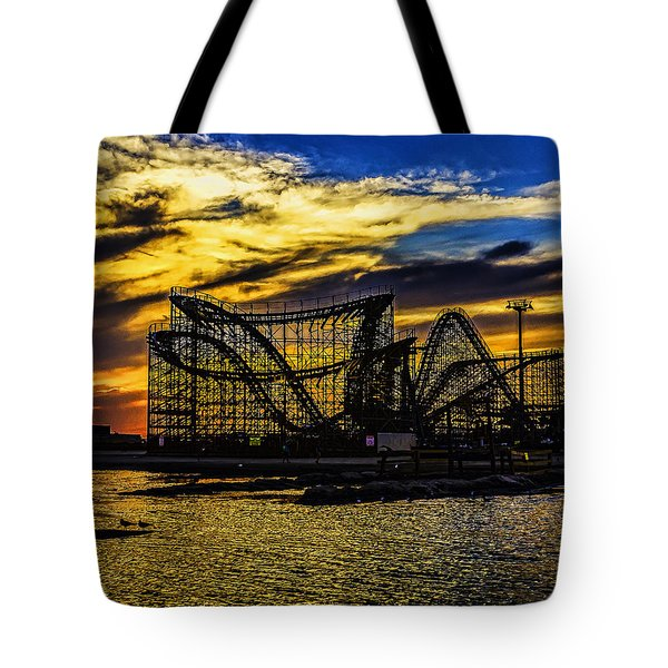 Roller Coaster Sunset Tote Bag