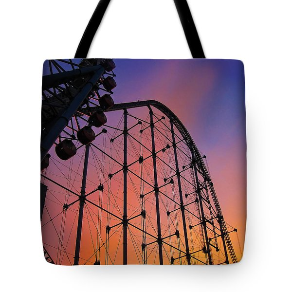 Roller Coaster At Sunset Tote Bag