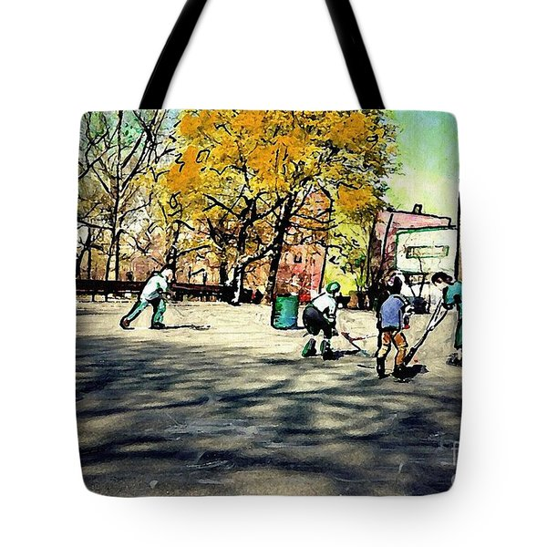 Roller Hockey In Bennett Park Tote Bag by Sarah Loft