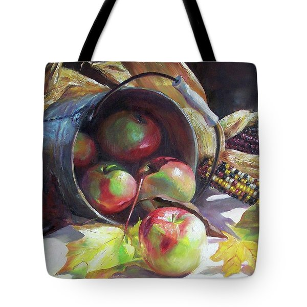Rolling Apples Tote Bag by Donna Munsch