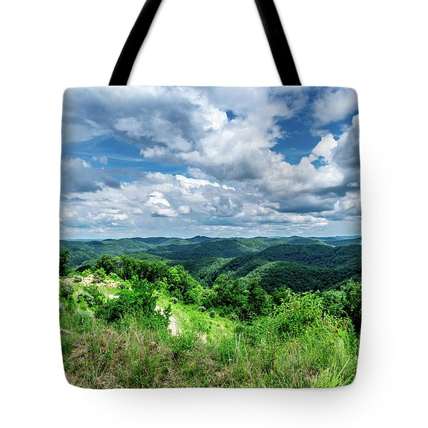 Tote Bag featuring the photograph Rolling Hills And Puffy Clouds by Lester Plank