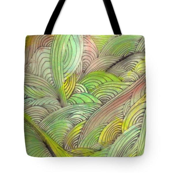 Rolling Patterns In Greens Tote Bag by Wayne Potrafka