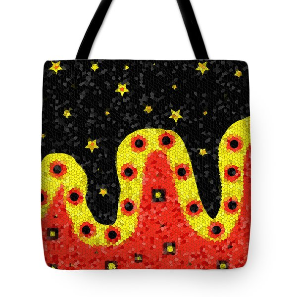 Tote Bag featuring the digital art Rolling Red Hills Fantasy Abstract Landscape by Shelli Fitzpatrick