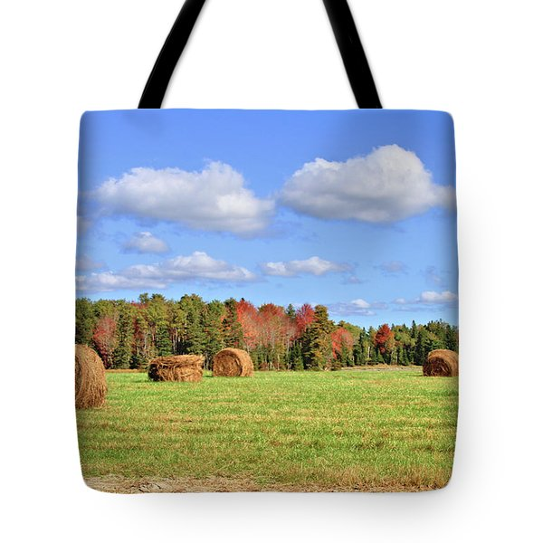 Rolls Of Hay On A Beautiful Day Tote Bag