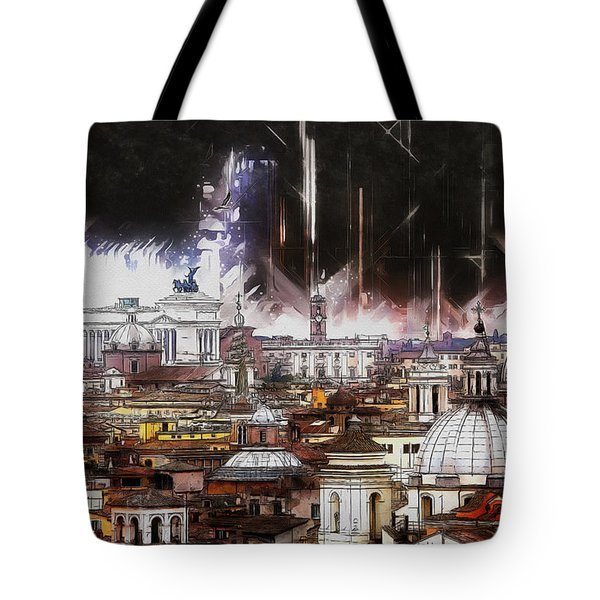 Tote Bag featuring the painting Roma Aeterna by Kai Saarto