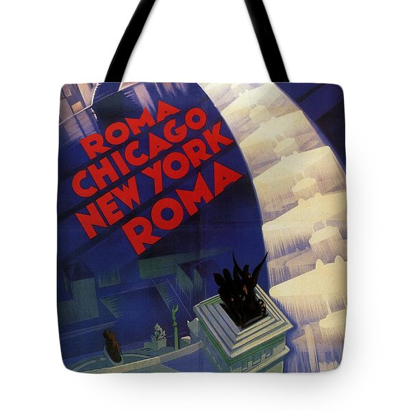 Roma, Chicago, New York - Vintage Illustrated Poster Tote Bag