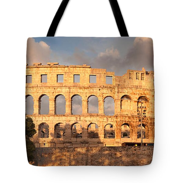 Roman Amphitheater At Sunset, Pula Tote Bag