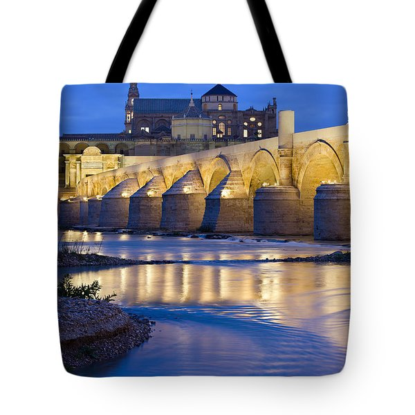 Roman Bridge On Guadalquivir River At Dawn Tote Bag