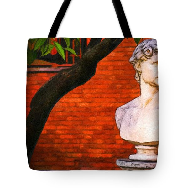 Roman Bust, Loyola University Chicago Tote Bag by Vincent Monozlay