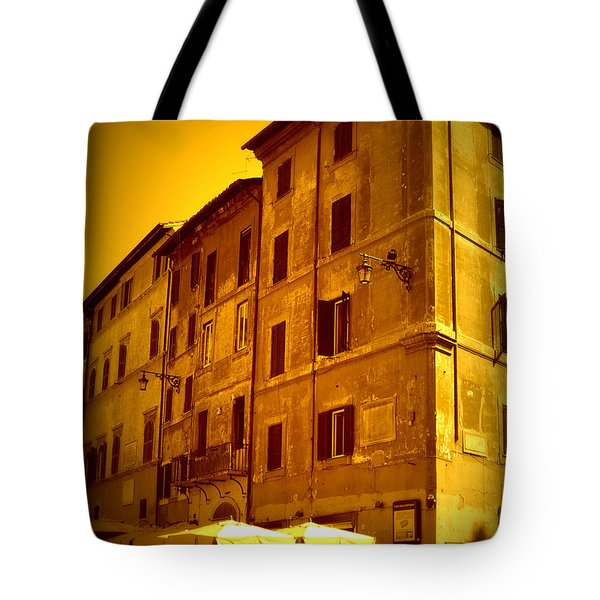 Roman Cafe With Golden Sepia 2 Tote Bag by Carol Groenen