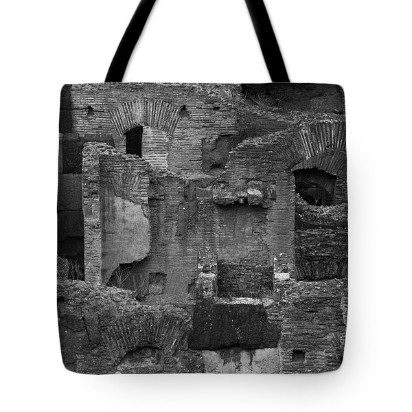 Tote Bag featuring the photograph Roman Colosseum Bw by Silvia Bruno
