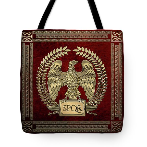 Roman Empire - Gold Imperial Eagle Over Red Velvet Tote Bag