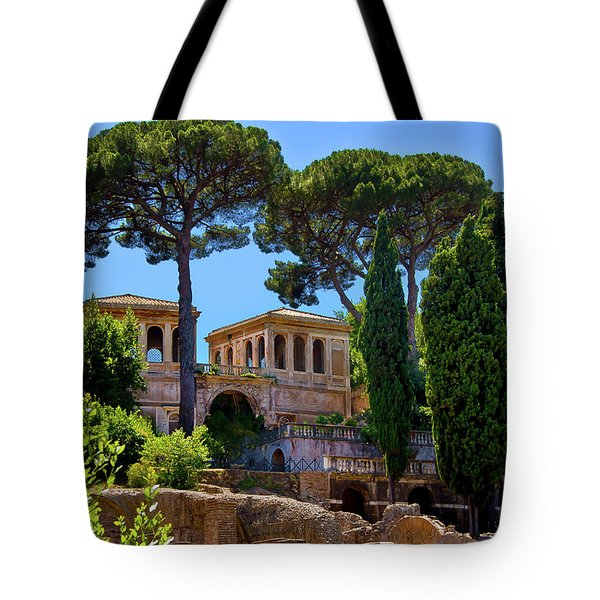 Tote Bag featuring the photograph Roman Forum Hillside  by Harry Spitz