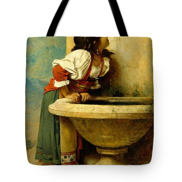 Roman Girl At A Fountain Tote Bag