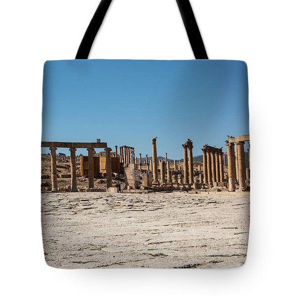 Tote Bag featuring the photograph Roman Ruins At Ajloun by Mae Wertz