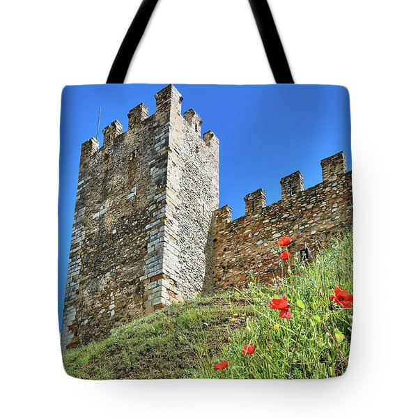 Tote Bag featuring the photograph Roman Walls And Flowers In Tarragona by Eduardo Jose Accorinti