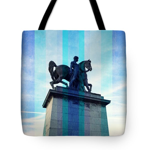 Roman Warrior And Horse Tote Bag