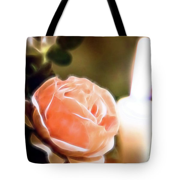 Tote Bag featuring the digital art Romance In A Peach Rose by Linda Phelps