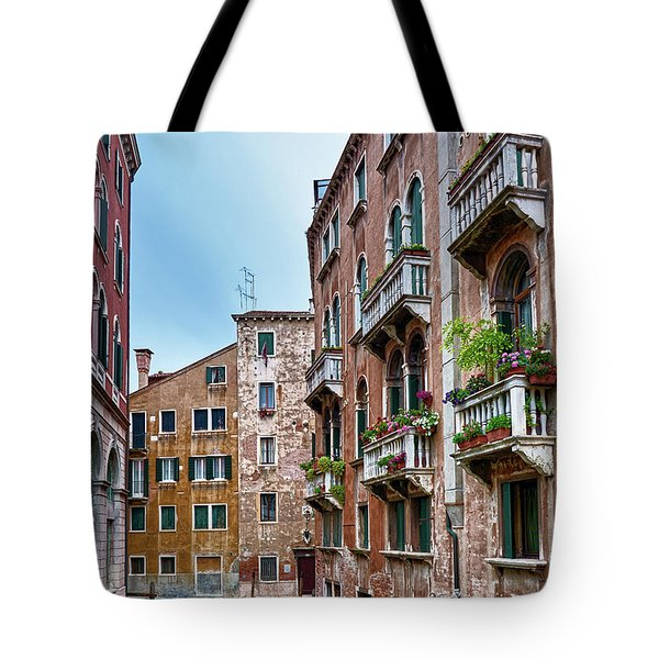 Gondola Ride Surrounded By Vintage Buildings In Venice, Italy Tote Bag