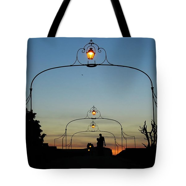 Tote Bag featuring the photograph Romance On The Old Lantern Bridge by Menega Sabidussi
