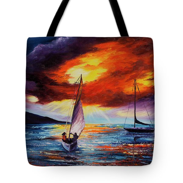 Tote Bag featuring the painting Romancing The Sail by Darice Machel McGuire