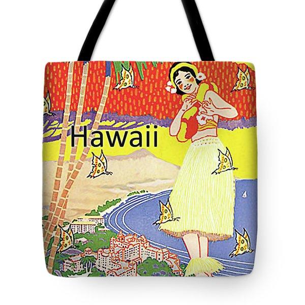 Romantic, Beautiful Hawaii, Vintage Travel Poster Tote Bag