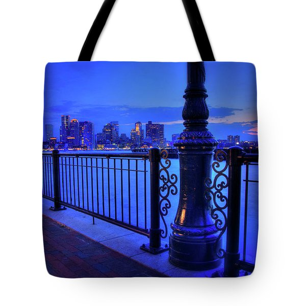 Tote Bag featuring the photograph Romantic Boston - Boston Skyline At Night by Joann Vitali