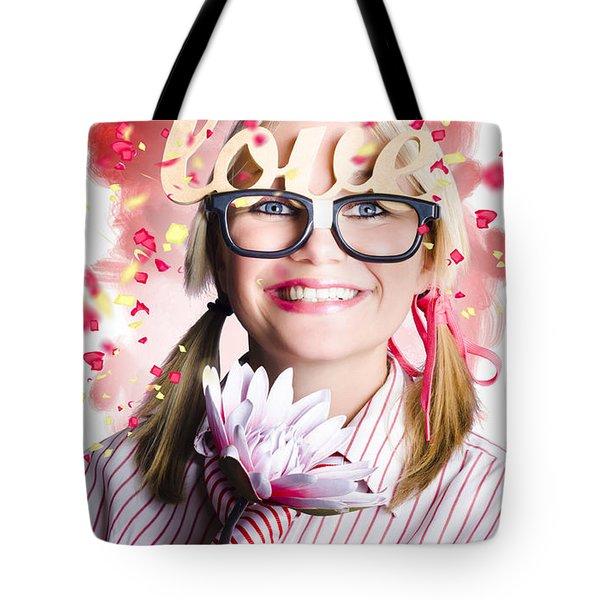 Romantic Female Nerd In A Celebration Of Love Tote Bag
