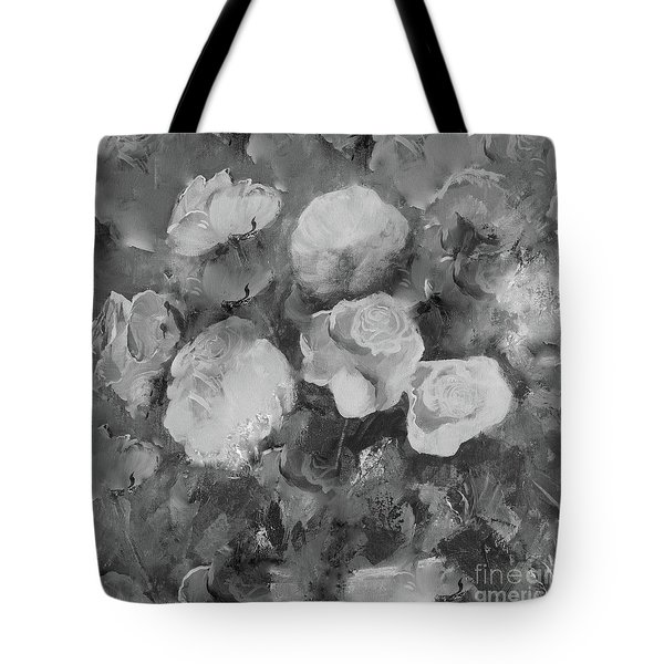 Tote Bag featuring the painting Romantic Large Roses  by Robin Maria Pedrero